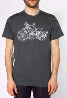 Drawing of an Indian Motorcycle, white discharge ink on asphalt American Apparel 100% cotton tee