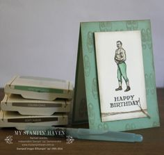 Guy Greetings watercoloured masculine birthday card #MyStampinHaven #StampinUp