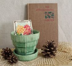 I collect old gardening books and flower pots...Green McCoy Pottery Planter and Everblooming by robinseggbleunest, $25.00