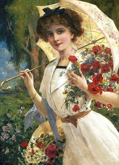 Make it feel like summer by wearing a lushious tied in your hair like the pretty lady on this painting by the French artist Emile Vernon. Victorian Paintings, Victorian Art, Victorian Ladies, Vintage Ladies, Vintage Paintings, Victorian Christmas, Art Paintings, Vernon, Vintage Pictures