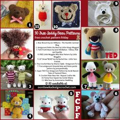30 Free Bear Patterns this week at Free Crochet Pattern Friday! FCPF - includes amigurumi, crochet hats, crochet blanket and Afghan Squares...