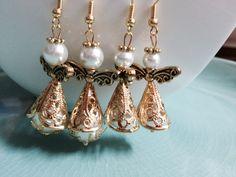 Angel earrings gold filigree & pearls
