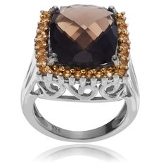 Journee Collection Sterling Silver Smoky Topaz Citrine Ring (Smoky Topaz- 8.5), Women's, Brown