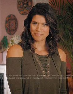 Xiomara's green lace-up cold-shoulder top on Jane the Virgin