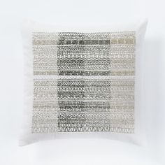 "Beaded Ombre Stripe Pillow Cover - Stone White | west elm - 16"" - $54.99 special (less 20% is $43.99) for the chairs"