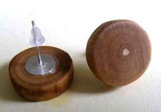 1 pair Wooden Stud Earrings Poplar Wood Handmade by Trendsandgoods, $6.90