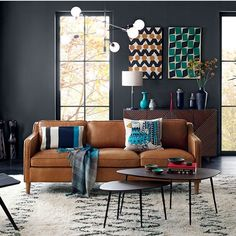 Contemporary Living Room | Grey Walls | Tan Leather Sofa | Mid Century Style