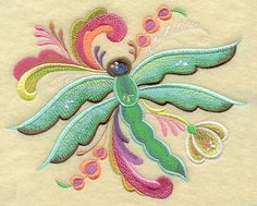 Machine Embroidery Designs at Embroidery Library! - Rosemaling Dragonfly