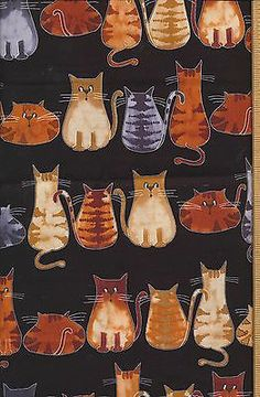 Cats in a row cute cotton fabric quilt quilting 30 incehs by 44 inches Cat Fabric, Baby Items, The Row, Cotton Fabric, Quilting, Fabrics, Cats, Shopping, Ebay