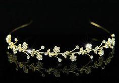 Bridal Wedding Flower Crystal Gold Headband Tiara T1209