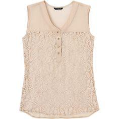 "La Mode. Modelo: G815A0440569GCA. Blusa con encaje, sin mangas, escote en ""V""."