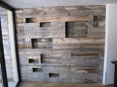 Pallet wall paneling with built-in niches