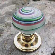 Artisan swirls of colour glass door knob by Merlin Glass Glass Door Knobs, Knobs And Knockers, Swirls, Color Mixing, Door Handles, Artisan, Colour, Interior Design, Merlin