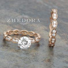 1.5 CT Round Cut Engagement Ring band set in Solid 14k Rose Gold Bridal Wedding Set Engagement Set Lab Created Diamond Fancy Design by Zhedora on Etsy https://www.etsy.com/au/listing/286488007/15-ct-round-cut-engagement-ring-band-set
