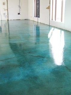 Painted cement floor. Not my color but still beautiful!