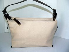 BANANA REPUBLIC Cream Wool Brown Leather Trim Hobo Handbag New #BANANAREPUBLIC #SATCHELHANDBAGPURSE