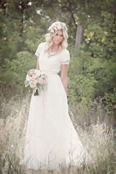 Our collection of modest wedding dresses with short sleeves is sure to please any LDS bride! Wedding Dresses Lds, Wedding Dress Trends, Wedding Dress Sleeves, Boho Wedding Dress, Bridesmaid Dresses, Lace Wedding, Short Girl Wedding Dress, Simple Country Wedding Dresses, Modest Wedding Dresses With Sleeves