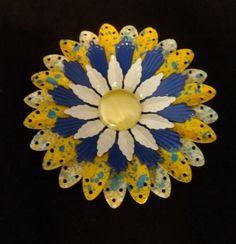 Vintage Blue, Yellow and White Enamel Metal Flower Pin ~ MINT