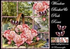 Window Basket & Pink Roses Mini Kit