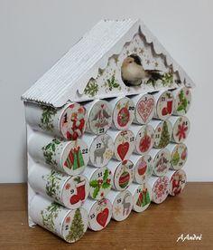 Calendrier de l'Avent, toujours avec des tubes en carton et collage de serviettes                                                                                                                                                     Plus