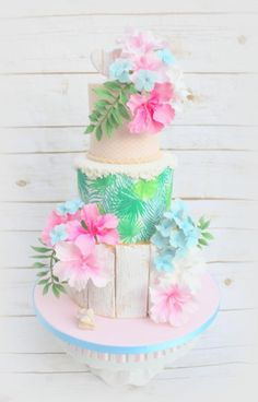 Tropical beach theme cake - by Lynette Brandl Hawaiian Theme Cakes, Beach Themed Cakes, Beach Cakes, Luau Birthday Cakes, Luau Cakes, Party Cakes, Birthday Cupcakes, Hawaii Cake, Pear And Almond Cake