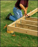 Building and setting deck posts and footings gardening for Ground level deck plans pdf