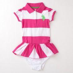 Infant Girls Diagonal Stripe Ruffle Polo Dress