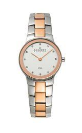 Skagen Silver and Rose-gold Link Silver Dial Women's watch : Dress watch, Japanese quartz movement, Polished rose-gold-tone sword hands, Applied genuin Halloween Sale, Skagen, Rose Gold, Watches, Silver, Link, Wristwatches, Clocks, Money