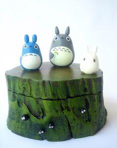 TOTORO Teak Wood Box Studio Ghibli doll figure toy 1118