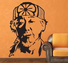 This wall sticker comes from the famous movie 'The Karate Kid'. The figure shown in the photo is Miyagi. Daniel LaRusso's master. This vinyl decal of the famous martial arts film is ideal for big fans of this film. This Karate Kid sticker is available in over 50 different colours and many sizes. #Karatekid #Miyagi #Film