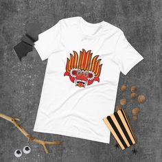 DEVIL TEE   Short-Sleeve Unisex T-Shirt by choice4digital on Etsy Ceylon Tee, Prism Color, Ash Color, Satan, News Design, Fabric Weights, Devil, Tarot, Weird