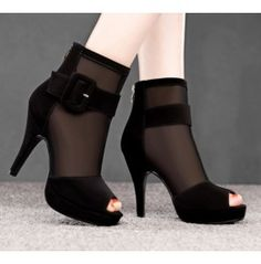 Sexy Open Toe Patchwork Black Gauze Thin High Heel Sandals