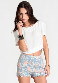 Aubrey Scalloped Floral Shorts 40.00 at