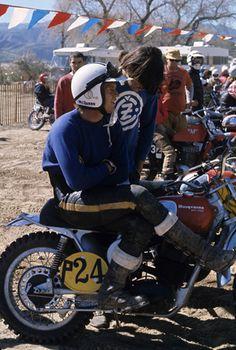 Steve McQueen racing on his Husqvarna motorcyle at Indian Dunes circa 1970s