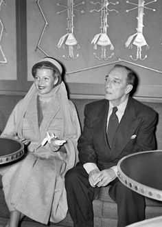 Rita Hayworth and Buster Keaton give a press conference, on September 24, 1952, in Le Havre, northern France.