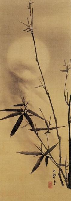 """""""Bamboo and Moon"""" by NAGASAWA Rosetsu (1754~1799), Japan: Everyday, priests minutely examine the Law. And endlessly chant complicated sutras. Before doing that, though, they should learn how to read the love letters sent by the wind and rain, the snow and moon. - Ikkyu (Japanese Zen Buddhist monk: 1394~1481)"""
