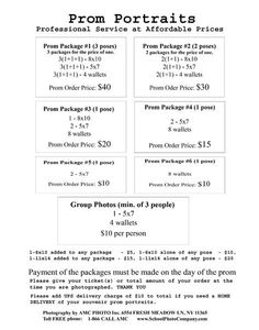 photography package price list | NYC. Affordable and reliable School Photography Company photo packages ... Wedding Photography Contract, Photography Mini Sessions, Prom Photography, Photography Settings, Graduation Photography, Photography Marketing, Photography Packaging, Photography Basics, Photography Lessons