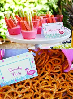 Chic & Creative Pink Flamingo Pool Party // Hostess with the Mostess® Flamingos adorned with flowers. Kim Meisinger of Delight Paperie whipped up one seriously stylish soirée Pink Flamingo Party, Flamingo Pool, Flamingo Birthday, Pink Flamingos, Pool Party Themes, Pool Party Kids, Luau Party, Pool Party Birthday, Party Ideas