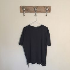 Distressed Tee in Grey New reworked tee Oversized fit Fits like a men's large Prewashed material 100% cotton Feel free to ask me any questions Thanks for browsing my closet! Happy Poshing Tops Tees - Short Sleeve