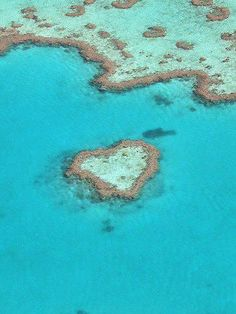 Heart Reef : Australia in the Great Barrier Reef  a composition of coral that has naturally formed into the shape of a heart. Heart Reef is best experienced from the air by helicopter.