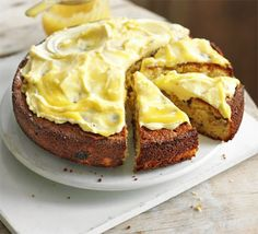 A lemon sponge cake dotted with tender pink pieces of rhubarb and topped with decadent cream frosting, from BBC Good Food. Lemon Curd Cake, Lemon Sponge Cake, Lemon Cakes, Coconut Cakes, Vanilla Cake, Cake Recipes, Dessert Recipes, Delicious Desserts, Rhubarb Recipes