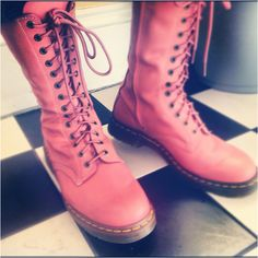 My Dr Martens boots pink leather 14 hole Docs