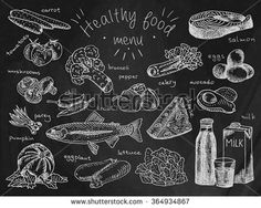 healthy food menu on dark chalkboard background, avocado, broccoli, carrot, celery, cheese, chili, eggplant, eggs, fish, lettuce, milk, mushroom, pumpkin, salmon, tomatoes, trout, onion, pepper