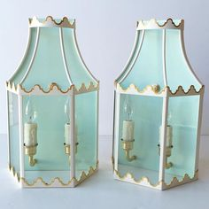 That's a dreamy custom pale blue on the back of our Paloma Sconces #coleenandcompany #palomasconces #palomasconce