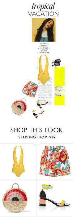 """Yellow"" by olesyabond ❤ liked on Polyvore featuring ADRIANA DEGREAS, New Look, Vanessa Seward, Pierre Hardy, Bobbi Brown Cosmetics, Summer, beach, tropics and TropicalVacation"