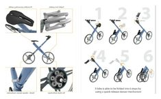 """Xbike - This bicycle is shaped like the letter """"X"""" and can be folded up when needed. Unlike most bikes, it doesn't use chains or cables."""