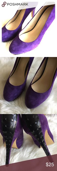 SZ 8M 💜 Purple 💜 Suede Nine West Heels SZ 8M 💜 Purple 💜 Suede Nine West Heels Nine West Shoes Heels