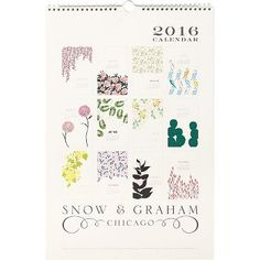 Enjoy twelve months of beautiful Snow & Graham floral illustrations in this spiral bound calendar. Bold colors pop on soft white paper making it as pretty as it is practical.<br><br>January 2016 throu