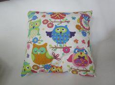 Lovely Coloured Owl Pillow Cotton Pillow Cover Throw by EKODEKOFI, $22.90