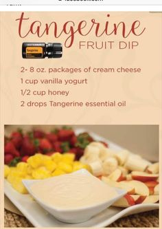 Tangerine Fruit Dip, add in your DoTerra Tangerine essential oil and dip to your… Cooking With Essential Oils, Doterra Essential Oils, Tangerine Essential Oil, Yogurt, Cooking Recipes, Drink Recipes, Cooking Rice, Cooking Turkey, Easy Recipes